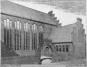Anna Church, Copenhagen - Early draft, differing from the final design in several ways including a lower lateral wing