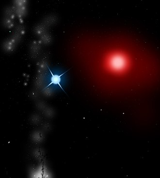 Green star (astronomy) - Antares (red) and its companion star, Antares B