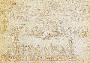 Catherine de' Medici's court festivals -  Water Festival at Bayonne, a tapestry design by Antoine Caron, records entertainments laid on by Catherine de' Medici for the Franco-Spanish summit meeting of 1565.