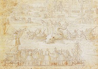 Valois Tapestries - Water Festival at Bayonne. Antoine Caron's designs lack the foreground figures of the finished tapestries.