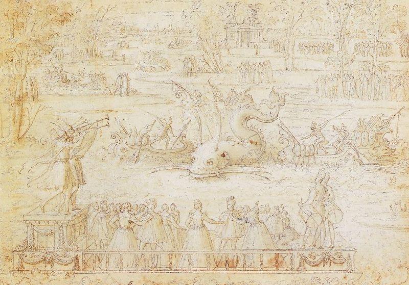 File:Antoine Caron, Water Festival at Bayonne, drawing.jpg