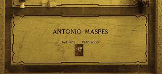 Antonio Maspes - Maspes's grave at the Monumental Cemetery of Milan in 2015