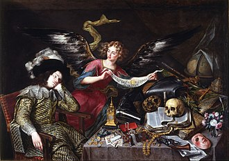 "Antonio de Pereda - ""The Knight's Dream"" by Antonio de Pereda.  On the banner: 'Aeterne pungt, cito volat et occidit. ""Eternally it stings, swiftly it flies and it kills."""