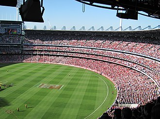 The Anzac Day clash is one of the marquee fixtures in the AFL home and away season. Anzac Day 2011 game 3.jpg
