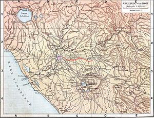 Aqua Alexandrina - Map of the Aqua Alexandrina outside of Rome
