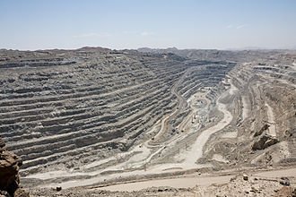 Economic geology - An open pit uranium mine in Namibia