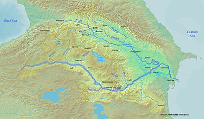 The Aras highlighted on a map of the Kura River watershed.