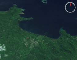 The city of Arawa, and the port of Kieta, from space