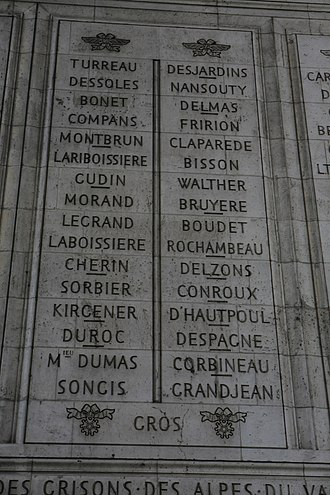 Charles-Étienne Gudin de La Sablonnière - Gudin's name is inscribed on the Arc de Triomphe (7th from the top on the left).