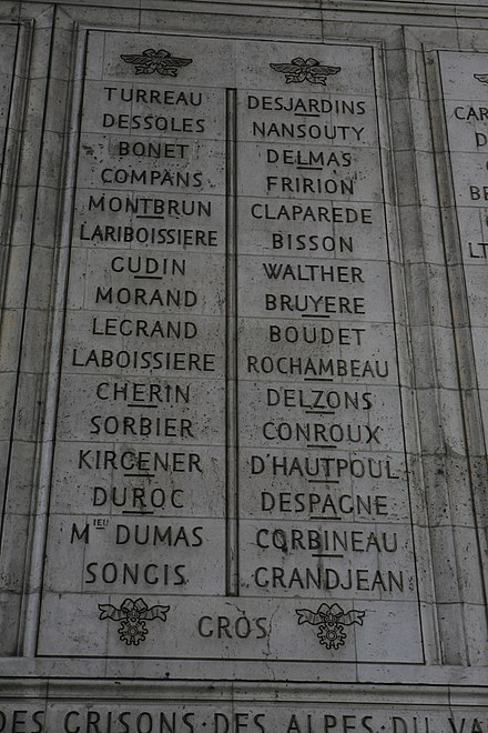 Walther's name is inscribed on the Arc de Triomphe (7th from the top on the right).