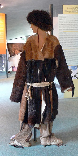 Ötzi - Archeoparc (Schnals valley / South Tyrol). Museum: Reconstruction of the neolithic clothes worn by Ötzi