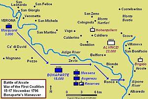 Battle of Arcole - Bonaparte's maneuver from Verona to Ronco, 14–15 November 1796