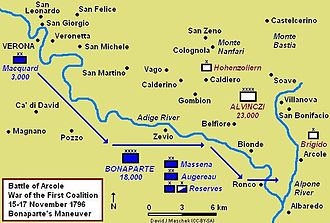 Battle of Arcole - Bonaparte's maneuver from Verona to Ronco, 14–15 November 1796