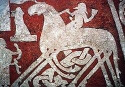 La estela rúnica de Tängvide muestra a Odín entrando al Valhalla cabalgando en Sleipnir.