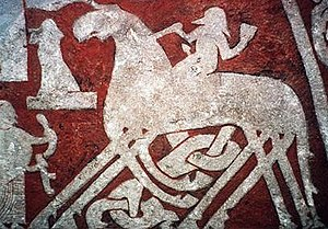 Picture stone - Detail of Odin entering Valhalla riding on Sleipnir from the Tjängvide image stone.