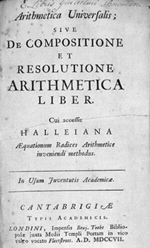 Arithmetica Universalis - Arithmetica Title page (1707)
