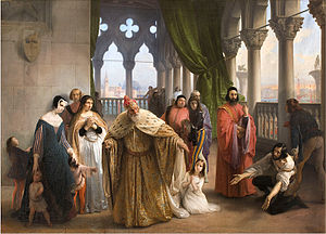 I due Foscari - The Last Meeting Between Jacopo Foscari and his Family Before Leaving into Exile, Francesco Hayez, 1838–40