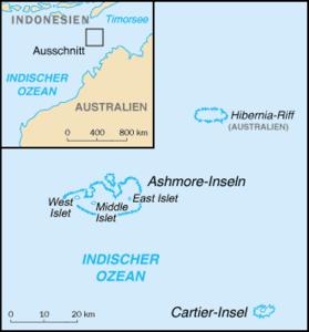 Karte der Ashmore- und Cartierinseln