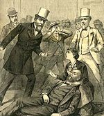 Contemporary depiction of the Garfield assassination. Secretary of State James G. Blaine stands at right.