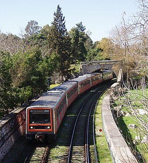 Transport in Greece - Train of ISAP, the oldest urban rapid transit system of Athens metropolitan area