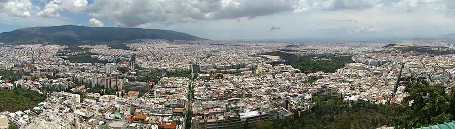 View of parts of central Athens and its eastern suburbs from Mount Lycabettus.