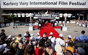 Karlovy Vary International Film Festival - The opening of the 50th festival in front of the Hotel Thermal