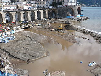 Atrani - The beach in Atrani after the flood of 2010.