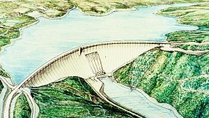 Auburn Dam - A concept drawing of the Auburn Dam, from the U.S. Army Corps of Engineers