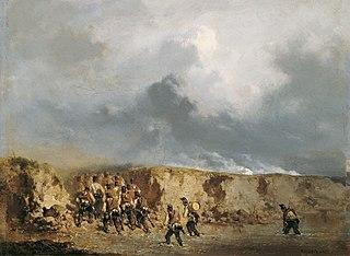 Österreichische Soldaten eine Furt überschreitend