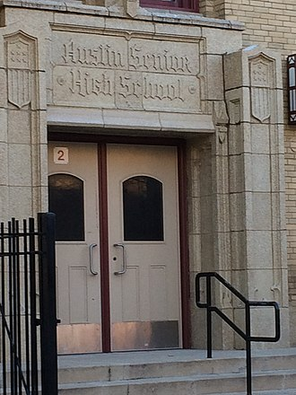 Austin Community Academy High School - One of the entrances to the school, 2017.