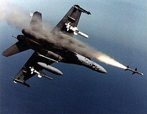 AIM-7 Sparrow - An Australian F-18A Hornet fires an AIM-7 Sparrow missile.