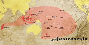 Austronesia - The region where Austronesian languages are spoken spans over 200 degrees of longitude from Madagascar to Easter Island