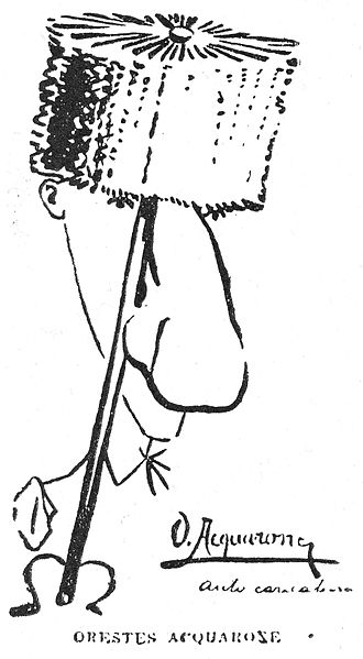 Orestes Acquarone - Self-caricature in 1900.