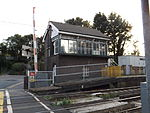 Aylesford railway station, signal box, EG10, August 2013.JPG
