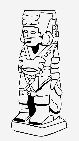 Atlantean figures - Drawing of a typical Aztec atlantean figure.