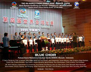 Blue Choir of Sam Ratulangi University - 2006 World Choir Games group photo