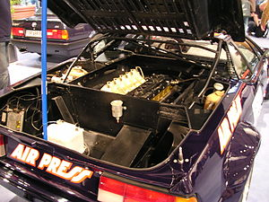 BMW M1 Procar Championship - The engine bay of a Procar M1.  The M88/1 engine is a heavily tuned variant of the road car's M88 straight-6.