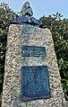 Baard Haugland memorial from 1919 in Leirvik, Stord, Norway. Portrait bust by Torleiv Agdestein. Rhododendron. Photo 2018-03-10 cjpg.jpg
