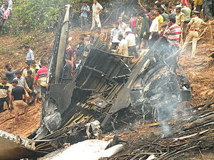 Air India Express Flight 812 - The plane's wreckage at the crash site