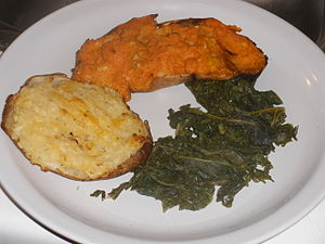 Baked potato - Baked potato and sweet potato, with kale