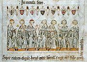 The prince-electors of the Holy Roman Empire. From a 1341 parchment