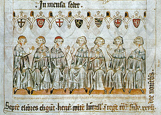 Rudolf I, Duke of Saxe-Wittenberg - Imperial election of 1308: the Seven Electors voting for Henry, Rudolf (3rd from right) wielding the Saxon vote, Codex Balduini (c. 1340)