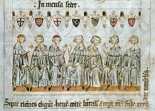 Illustration of the election of Henry VII (27 November 1308) showing (left to right) the Archbishop of Cologne, Archbishop of Mainz, Archbishop of Trier, Count Palatine of the Rhine, Duke of Saxony, Margrave of Brandenburg and King of Bohemia (Codex Balduini Trevirorum, c. 1340).