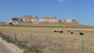 Banner County, Nebraska - Cattle grazing near buttes on north side of Pumpkin Creek valley