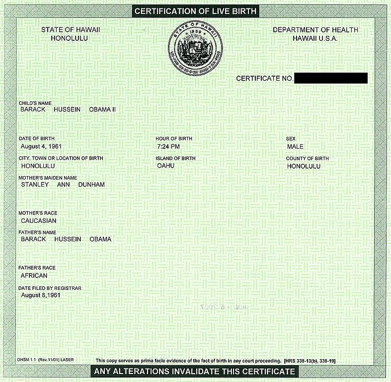 File:BarackObamaCertificationOfLiveBirthHawaii.jpg