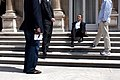 Barack Obama sitting on stairs at US ambassador's residence in Paris.jpg