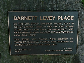 Barnett Levey - Plaque commemorating the site of Waverley House