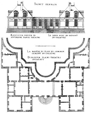 Chateau-Neuf de Saint-Germain-en-Laye - Riverside elevation and partial plan of the Château-Neuf, engraving by Androuet du Cerceau (1576)