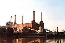 Battersea Power Station viewed from the north bank of the River Thames