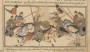 Nuh II - Artwork of a battle in Khurasan in August 994 between the Samanids and the two Turkish rebels Fa'iq and Abu 'Ali Simjuri.